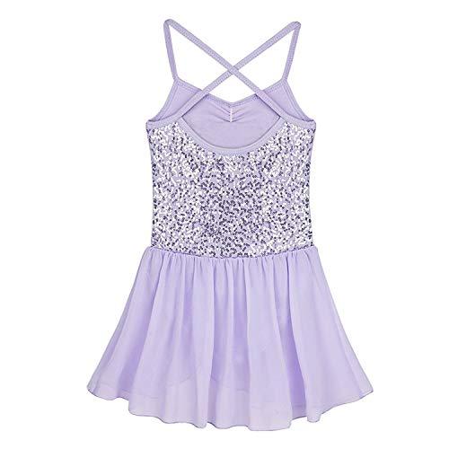 iiniim Kids Girls' Sequined Camisole Ballet Tutu Dress Ballerina Leotard Outfit Dance Wear Costumes (Sequined Purple, 5-6) ()