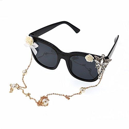Baroque Mujer Gafas de Cinta Mano de Gafas Sol a y romántico GWF Fashion Show Gafas Sol de Style Hechos Beach para Flor Sol Cristal vqO8Zw8
