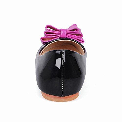 Carolbar Femme Arcs Couleurs Assorties En Cuir Verni Doux Mocassins Flats Noir