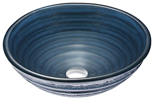 ANZZI Tempo 16.75 in x 16.75 in Modern Tempered Deco Glass Round Vessel Bathroom Sink in Colled Blue | Lavatory Top Mount Installation Oval Toilet Sink | LS-AZ042