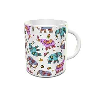 White Ceramic Tea Cup 6 Oz with elephant doodle pattern Design 103