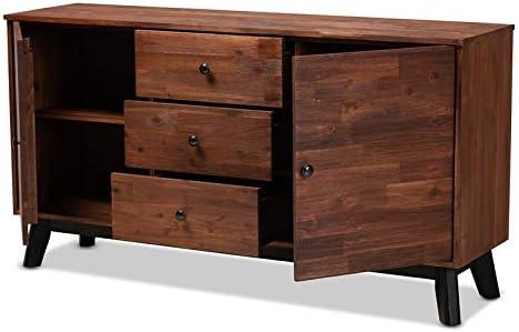 Baxton Studio Calla Brown and Black Oak 2-Door Wood Sideboard Buffet