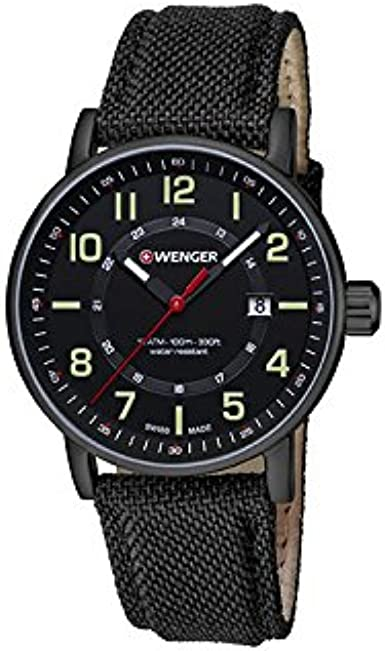 Wenger Reloj Analogico para Unisex de Cuarzo con Correa en Tela 01.0341.111