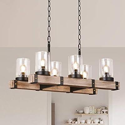 6 Lights Wooden Farmhouse Kitchen Island Lighting Industrial Hanging Pendant Light Fixtures For Dinning Table Bar Dinning Room Amazon Com