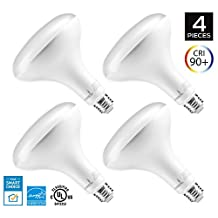 Hyperikon BR40 LED Bulb, 15W (100W equivalent), 1360lm, 5000K (Crystal White Glow), CRI 90+, Wide Flood Light, 110° Beam Angle, Medium Base (E26), Dimmable, UL and ENERGY STAR - (Pack of 4)
