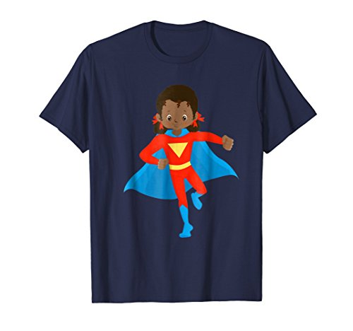 Mens African American Girl Super Hero Kids T Shirt 3XL (Halloween Preschool Treats Make)