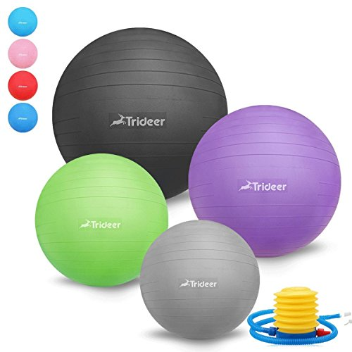 45-85cm Exercise Ball, Birthing Ball, Yoga Pilate Fitness Balance Ball lug Kit, Anti-Slip & Anti-Burst, TRIDEER 2000lbs Extra Thick Core Cross Training Ball (Purple, 65cm)
