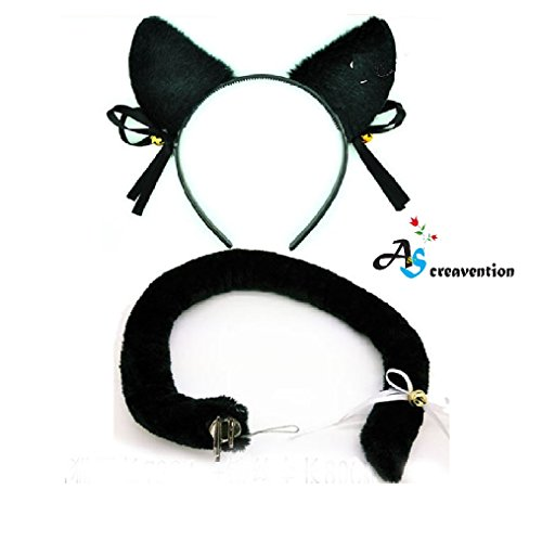 A&S Creavention Cat Ear Cosplay Headband and Accessories - Black Ear Tail Set