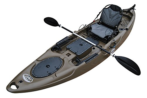 BKC UH-RA220 11.5 Foot Riptide Angler Sit On Top Fishing Kayak with Paddles and Upright Chair and Rudder System Included