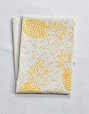 Organic Cotton Geometric Pineapple Tea Towel in Yellow