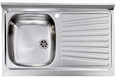 Fregadero de cocina de acero inoxidable 90 x 50 cm 1 seno SX ...