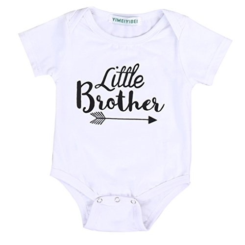 Newborn Baby Boy Girl Romper Tops Shirt Sister & Brother Outfits Set Clothes (0-6 Months, Little Brother)