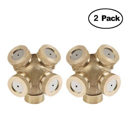 2 Pack 4 agujeros Professional latón Spray brumisateur boquilla jardín arroseurs empalme de manguera de agua Conector para...