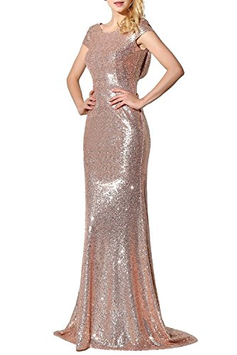 Elegant Rose - Promstar Women Elegant Rose Gold Sequin Bridesmaid Wedding Dresses Evening Gown, Rose Gold, Small