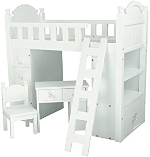 Lovely Olivia us Little World Sweet Girl White Bunk Bed Wooden inch Doll Furniture