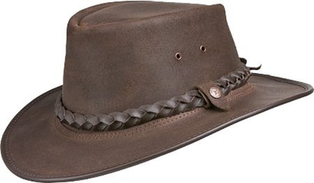 (BC Hats Bac Pac Traveller Oily Australian Leather Hat (Medium, Brown))