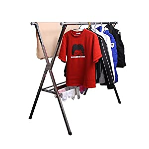 Reliancer Heavy duty Large Stainless Steel Clothes Drying Rack Foldable Space Saving Retractable Rack Hanger From 55.2 to 78.8 inches w/Shoe Rack