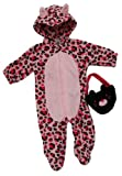 Pink Leopard Baby Bag And Zip Up Bodysuit Costume Two Piece Set
