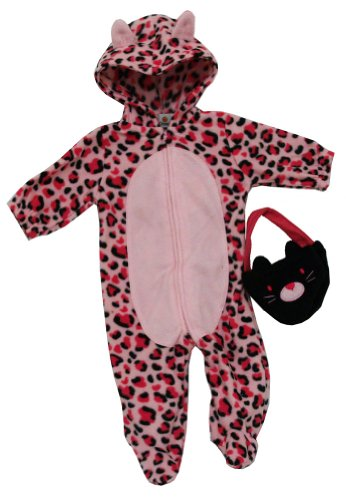 Pink Leopard Infant Costumes (Pink Leopard Baby Bag And Zip Up Bodysuit Costume Two Piece Set)