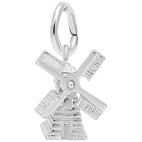 Rembrandt Charms Windmill Charm, 14K White Gold