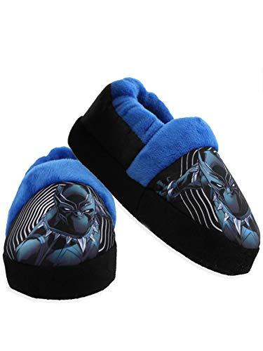 Avengers Black Panther Toddler Boy's Plush Aline Slippers (7-8 M US Toddler, Black)
