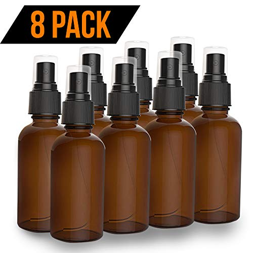 (8 Pack Amber Spray Bottles 2oz - [THE PERFECT SPRAY] - Empty Glass Bottles For Cleaning Solutions - Best Refillable MIST SPRAY Pack Perfume Atomizer [2oz])