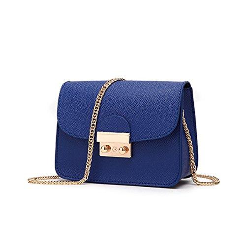 WU ZHI Lady Wild Mini Pequeña Bolsa Cuadrada Bolso De La Cadena De Hombro Messenger Bag Blue