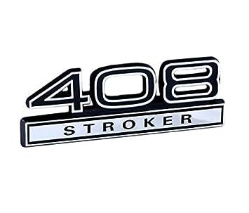 Amazon com: 408 Stroker Engine Emblem with Black & Chrome