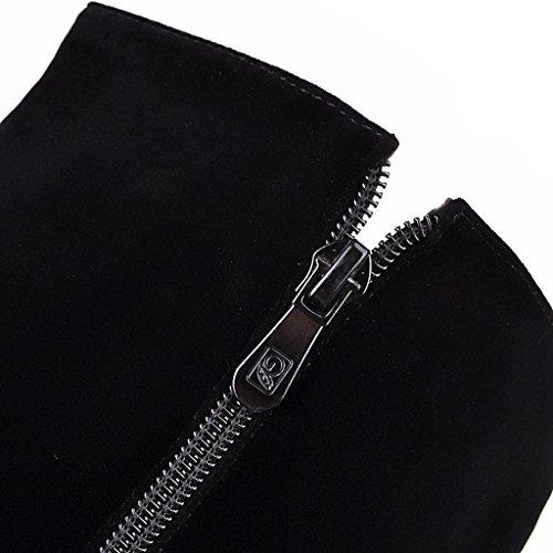 ENMAYER Women's Nueva Cremallera de Lujo de la Moda de Los Rhinestones Botas Altas Negro