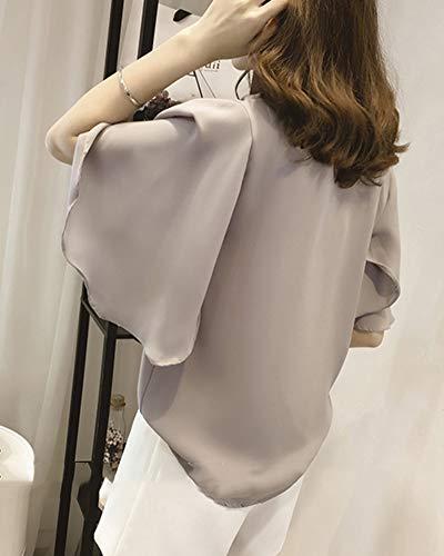 Chemisier Unie Grande Fluide Blouse Taille Manches Top Gris Femme Couleur Longues n6a77Y8