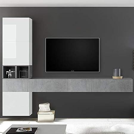 Nouvomeuble Meuble Tv Complet Blanc Laque Et Gris Oriago Amazon Fr Cuisine Maison