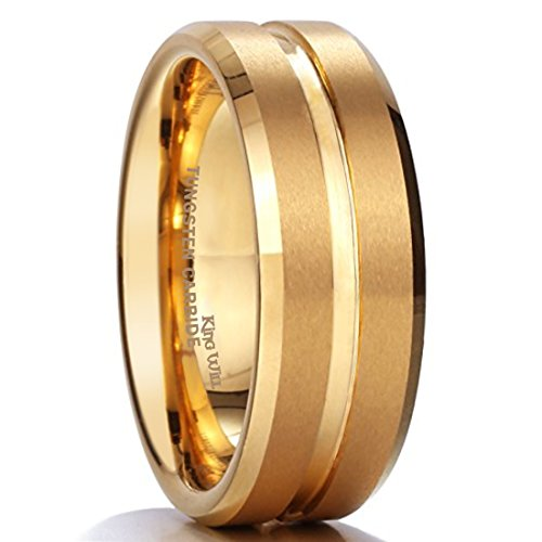 King Will GLORY 8mm Gold Plated Tungsten Matte Finish Wedding Band Ring Comfort Fit