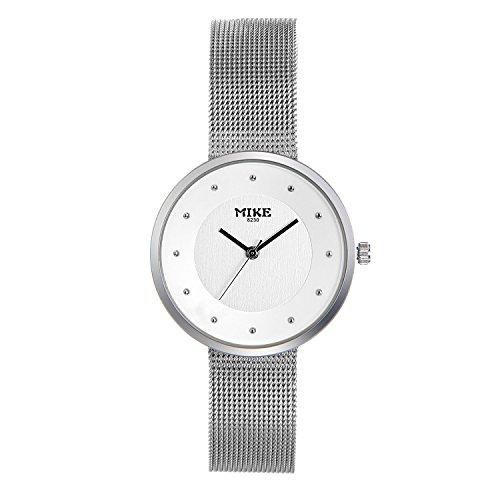 Hand Woven Bracelet Mesh - Lancardo Ladies' Silver Tone Markers Slim Milanese Loop Woven Mesh Band Bracelet Bangle Wrist Watch