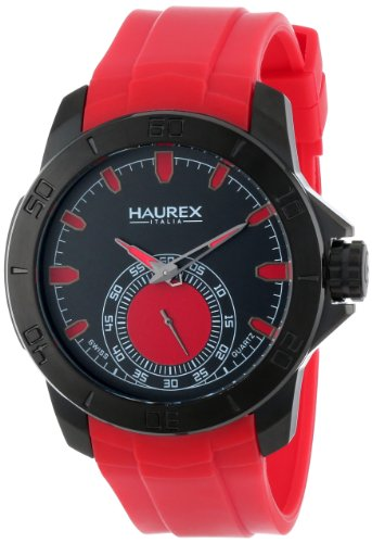 Haurex Italy Men's 3N503URR Acros Black Ion-Plated Coated Stainless Steel Red Rubber Strap Watch by Haurex