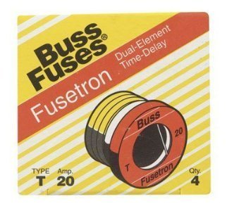 Bussmann T-20 20 Amp Type T Time-Delay Dual-Element Edison Base Plug Fuse, 125V UL Listed (Tron Time Fuse Delay)