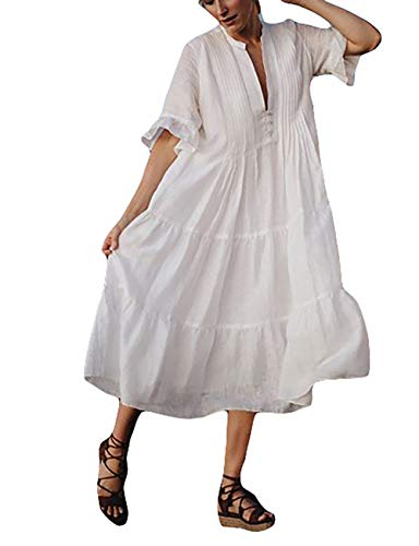 Bsubseach Women White Short Sleeve Swimsuit Cover Up Swimwear Beach Tunic Long Dress