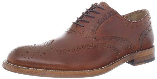 Calfskin Wingtip Shoes - Johnston & Murphy Men's Clayton Medallion Wing Tip Oxford,Mahogany Calf Skin,9.5 M US