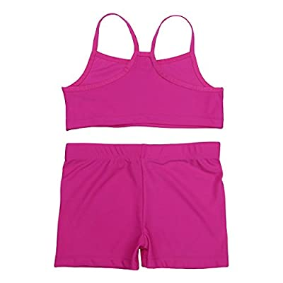 FEESHOW Girls 2 Piece Gymnastic Dance Sports Outfit Tank Top with Booty Shorts Set for Athletic Leotard Dancing Swimwear