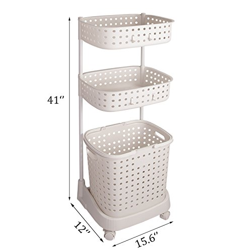 Three-tier laundry storage cart with wheels in an off-white color.