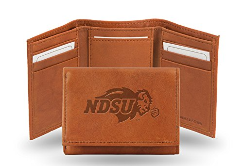 Pecan Accent - Rico Industries NCAA North Dakota State Bison Embossed Leather Trifold Wallet