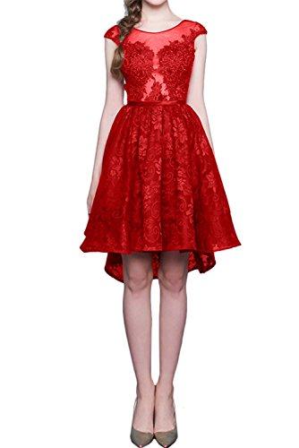 Sweetheart Rot Ivydressing Spitzenkleid Promkleid Damen Kurz Abendkleider Partykleider Rundkragen 5wwzC84xq