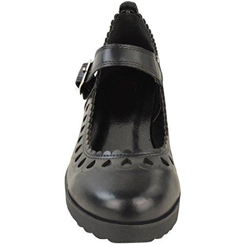Mode Soif Femmes Dames Filles École Robe Chaussures Découper Chunky Dolly Geek Travail Bureau Taille Noir Faux Cuir