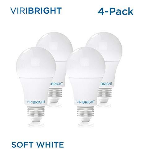Viribright Lighting 750338-4SC Viribright Non-Dimmable A19 Light, 8 (60 Watt Replacement), Warm White 2700-Kelvin, E26 Base led Bulb, UL Listed, Pack of 4, 4-Pack