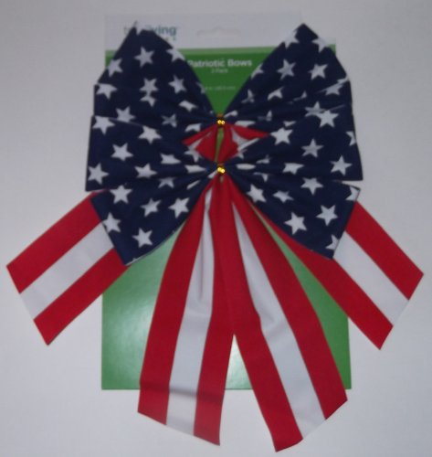 Patriotic Bows - 2 Pack - 8 Inches - Flocked Ribbon - Red, White and Blue Stars and Stripes (Flocked Bow)