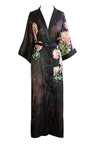 KIM+ONO Women's Kimono Robe Long - Watercolor Floral, Coral Chrysanthemum- ()