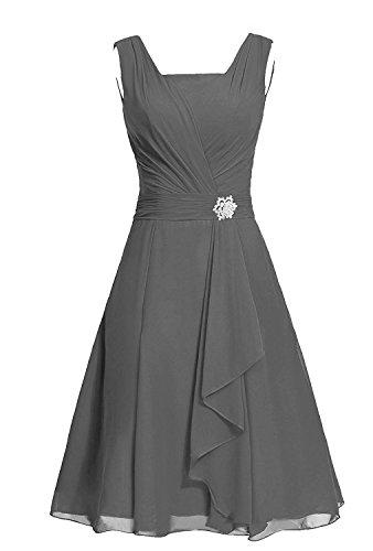MaliaDress Women's Square Chiffon Bridesmaid Dress Party Dress M290LF Dark Gray US22W
