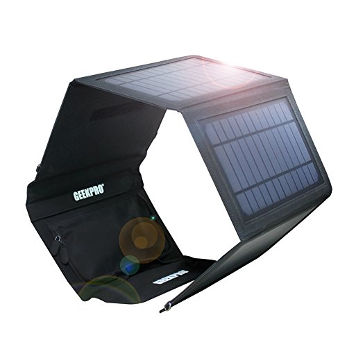 GEEKPRO Solar Charger with Dual USB Ports and 4 Mono-crystalline Panels