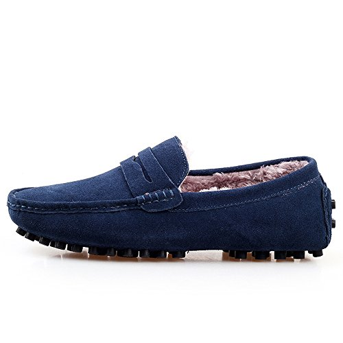 Go Tour Mens Classic Slip On Penny Loafers Casual Suede Leather Moccasins Shoes Blue