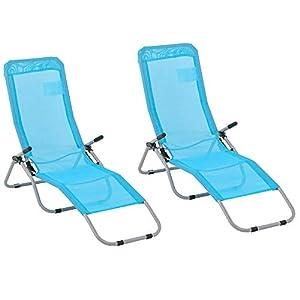 Outsunny Set de 2 Tumbonas Plegables con Respaldo Reclinable Marco de Metal Textilene para Jardín Patio Terraza 140x55x93 cm Azul