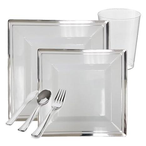Amazon.com: Posh Party Supplies | Bari Square White with Silver Rim ...